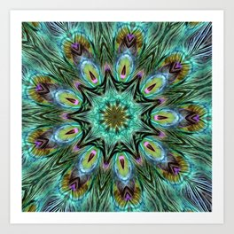 Colorful Peacock Feather Kaleidoscope Art Print