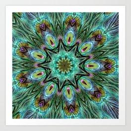 Colorful Peacock Feather Kaleidoscope Art Print