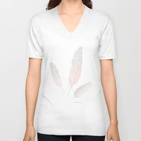 feather V-neck T-shirts featuring Feather by CatherineSomething