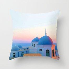Vacations in Santorini Throw Pillow