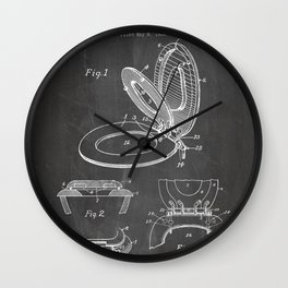Toilet Seat Patent - Bathroom Art - Black Chalkboard Wall Clock