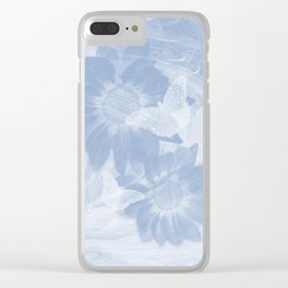 Delicate white butterflies and denim blue flowers in abstract fractal Clear iPhone Case