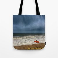 surfboard Tote Bags featuring Orange Surfboard by PACIFIC OBLIVION
