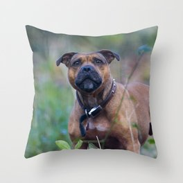STAFFY DOG IN WOODLAND Throw Pillow