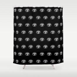 Linocut eyes pattern minimal black and white eye patterns Shower Curtain