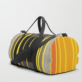 Yellow Stripes and black square pattern Duffle Bag