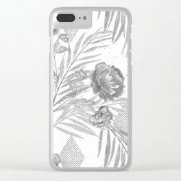 Gray flowers on a white background. Clear iPhone Case