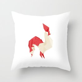 Origami Rooster Throw Pillow