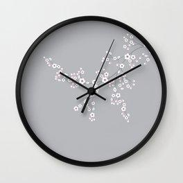 Abstract Japanese Floral Wall Clock