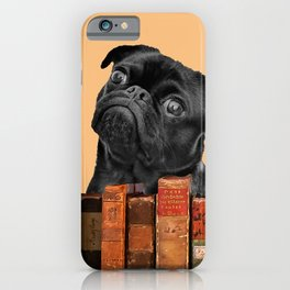 Old Books and Black Pug dog behind iPhone Case