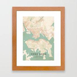 Hong Kong, Hong Kong - Vintage Map Framed Art Print