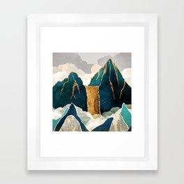 Golden Waterfall Framed Art Print