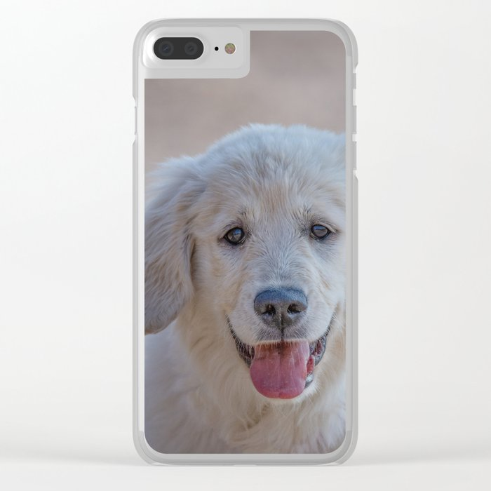 Young Golden Retriever breed dog with light fur stares into your eyes Clear iPhone Case