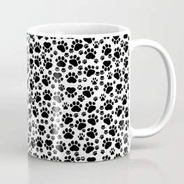 Dog Paws, Traces, Paw-prints - White Black Coffee Mug