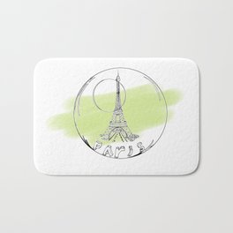 paris in a glass ball . green pastel colors Bath Mat