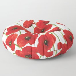 Poppies Flowers red field white background pattern Floor Pillow
