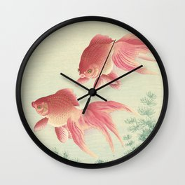 Goldfish - Vintage Japanese Woodcut Wall Clock
