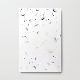 Dandelion Seeds Asexual Pride (white background) Metal Print