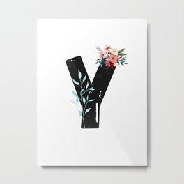 Letter Y - Botanical English Alphabet, Name Initial Metal Print
