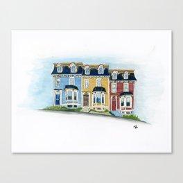 Jellybean Row - Newfoundland houses, buildings Canvas Print