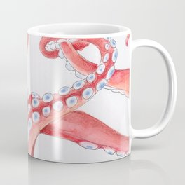 Red Tentacles Octopus Watercolor Ink Coffee Mug
