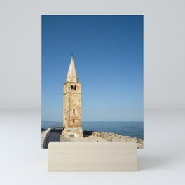 Bell tower and Sea, Caorle, Italy Mini Art Print