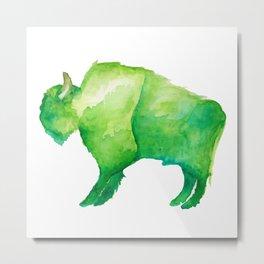Green Bison Metal Print
