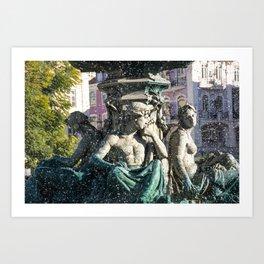 fontaine de Lisbonne Art Print