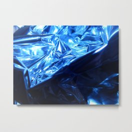 This Cold Elegance in Chrome Folds  Metal Print