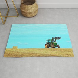 Tractor and Hay Roll on the Ridge Rug