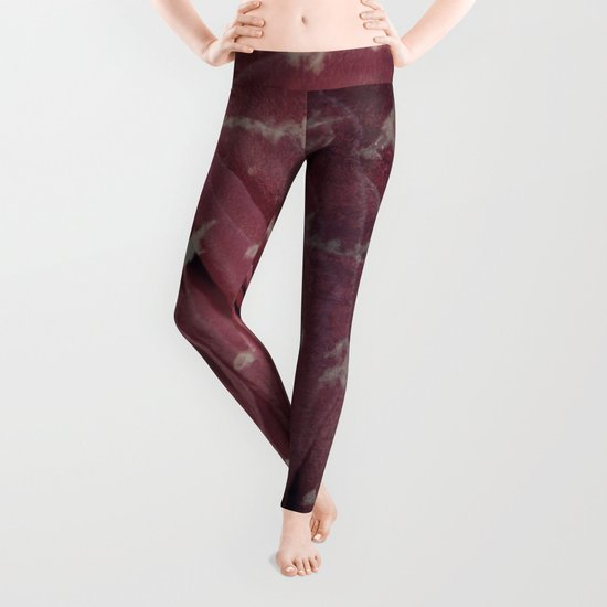 Antique Red Rose with Text Leggings