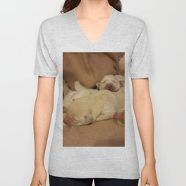 The Huddle with yellow lab puppies Unisex V-Neck