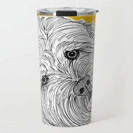 Cockapoo Dog Portrait ( yellow background ) Travel Mug