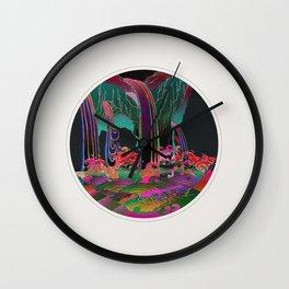 Reincarnation - Neon Waterfalls Wall Clock
