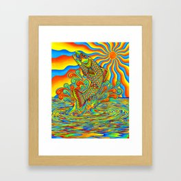 Psychedelic Rainbow Trout Fish Framed Art Print