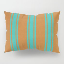 Turquoise lines on a orange background Pillow Sham