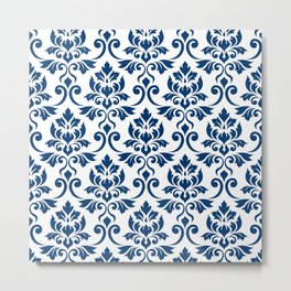 Feuille Damask Pattern Dark Blue on White Metal Print
