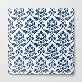 Feuille Damask Pattern Dark Blue on White Metal Print