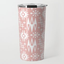 Mid Century Modern Atomic Space Age Pattern Dusty Rose Travel Mug