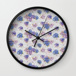 Hydrangeas and French Script with birds on gray background Wall Clock
