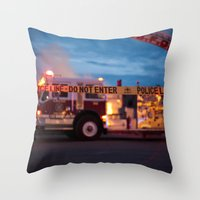 police Throw Pillows featuring Police Line by SShaw Photographic