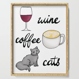 Wine Coffee Cats Serving Tray