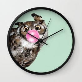 Sneaky Owl Blowing Bubble Gum Wall Clock