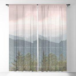 Great Smoky Mountain National Park Sunset Layers III - Nature Photography Sheer Curtain