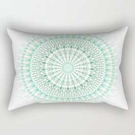 Mint White Geometric Mandala Rectangular Pillow