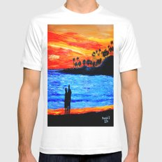 Sunset silhouette Mens Fitted Tee MEDIUM White