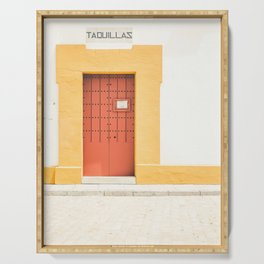 Seville XI [ Andalusia, Spain ] Red and Yellow Door⎪Colorful travel photography Poster Serving Tray