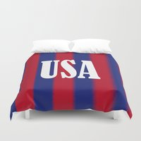 usa Duvet Covers featuring USA by Caio Trindade