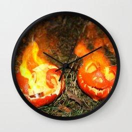 Flaming Pumpkins Wall Clock