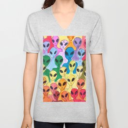 alien rainbow Unisex V-Neck